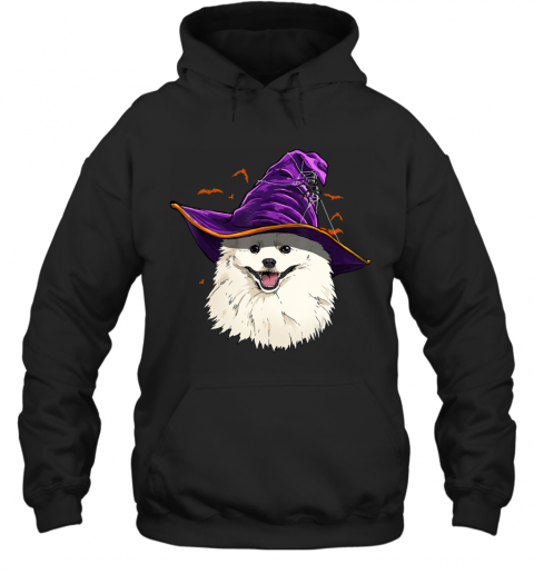 American Eskimo Dog Witch Hat Funny Halloween Dog Lover Gift Hoodie