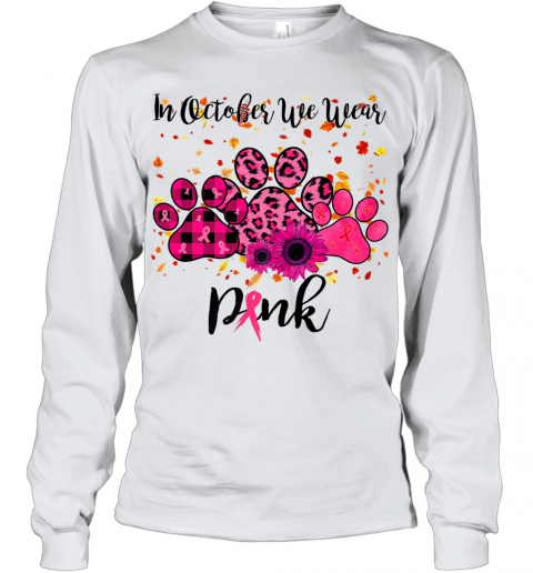 In October We Wear Pink Dog Mom Breast Cancer Paw Halloween Premium Youth Long Sleeve