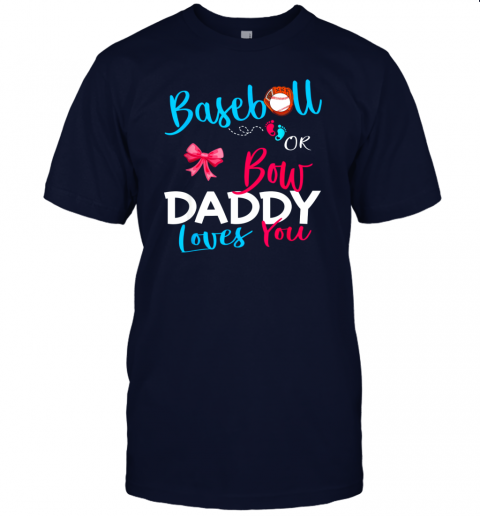 b1xy mens baseball gender reveal team baseball or bow daddy loves you jersey t shirt 60 front navy