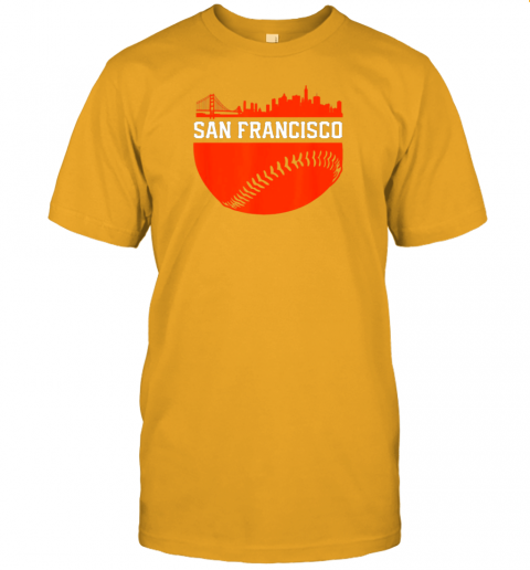 hvol san francisco baseball vintage sf the city skyline gift jersey t shirt 60 front gold
