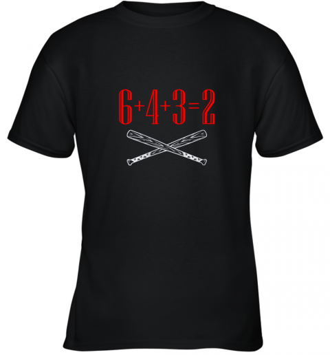 Funny Baseball Math 6 plus 4 plus 3 equals 2 Double Play Youth T-Shirt