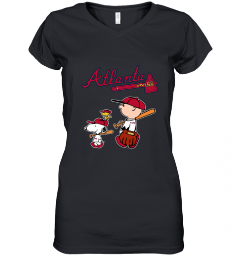 zmmm atlanta braves lets play baseball together snoopy mlb shirt women v neck t shirt 39 front black