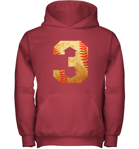 i1ey three up three down baseball 3 up 3 down youth hoodie 43 front red