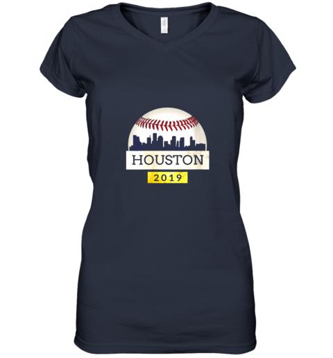 iv9q houston baseball shirt 2019 astro skyline on giant ball women v neck t shirt 39 front navy