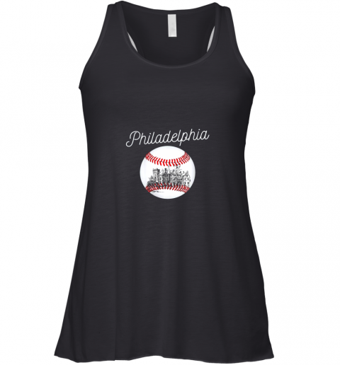 Philadelphia Baseball Philly Tshirt Ball and Skyline Design Racerback Tank