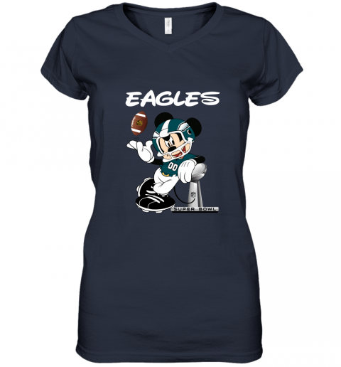 u4a1 mickey eagles taking the super bowl trophy football women v neck t shirt 39 front navy