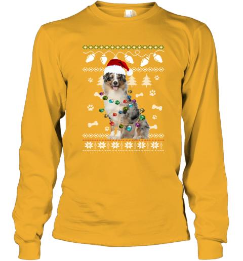 Australian Shepherd Xmas Dog Light Ugly Long Sleeve T-Shirt