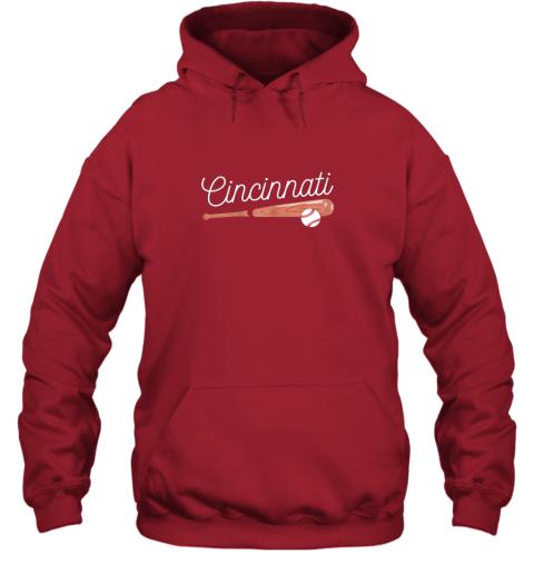trwh cincinnati baseball tshirt classic ball and bat design hoodie 23 front red