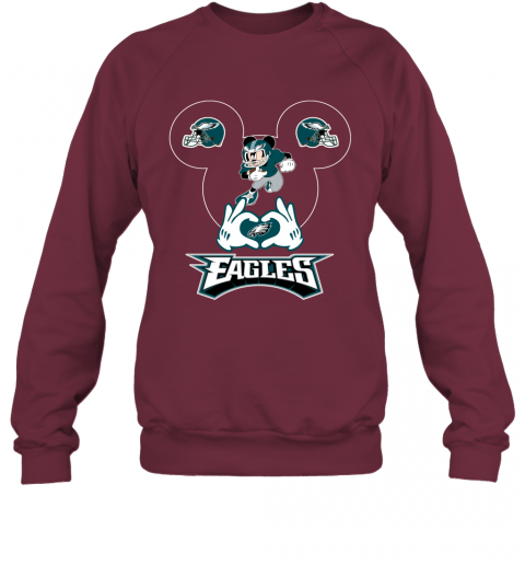 msjg i love the eagles mickey mouse philadelphia eagles sweatshirt 35 front maroon