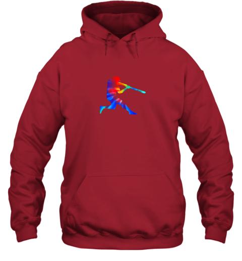 5v8l tie dye baseball batter shirt retro player coach boys gifts hoodie 23 front red