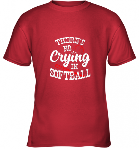 znbo theres no crying in softball game sports baseball lover youth t shirt 26 front red