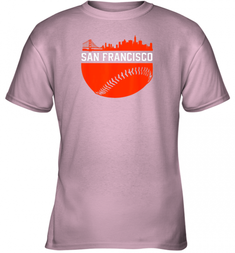 4rnd san francisco baseball vintage sf the city skyline gift youth t shirt 26 front light pink