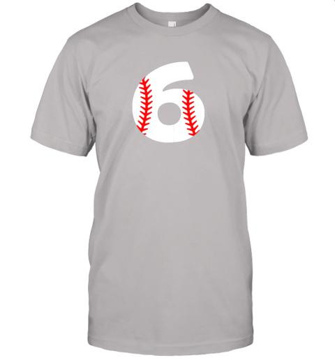 xrvz sixth birthday 6th baseball shirtnumber 6 born in 2013 jersey t shirt 60 front ash