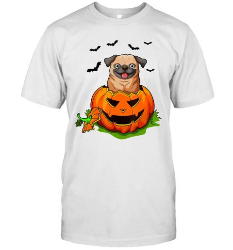 Halloween Pug Dog Lovers Pumpkin Grunge Jack O Lantern T-Shirt