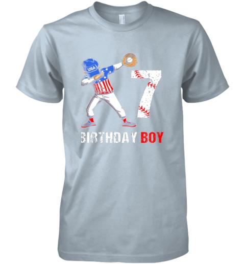 payk kids 7 years old 7th birthday baseball dabbing shirt gift party premium guys tee 5 front light blue