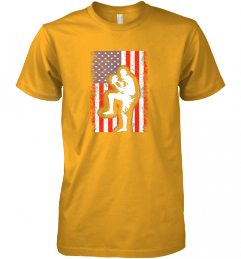 wiud vintage usa american flag baseball player team gift premium guys tee 5 front gold