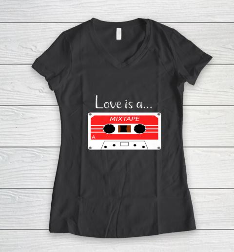 Love is a MixTape Retro Old School Valentine Women's V-Neck T-Shirt 6