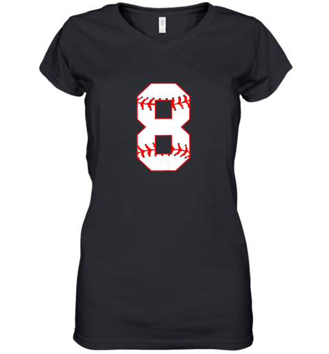 Cute eighth Birthday Party 8th Baseball Shirt Born 2011 Women's V-Neck T-Shirt