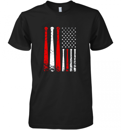 Baseball Inspired American Flag Distressed Premium Men's T-Shirt