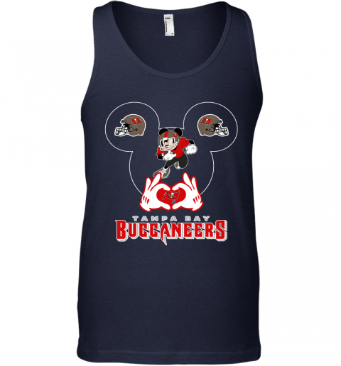 hto3 i love the buccaneers mickey mouse tampa bay buccaneers s unisex tank 17 front navy