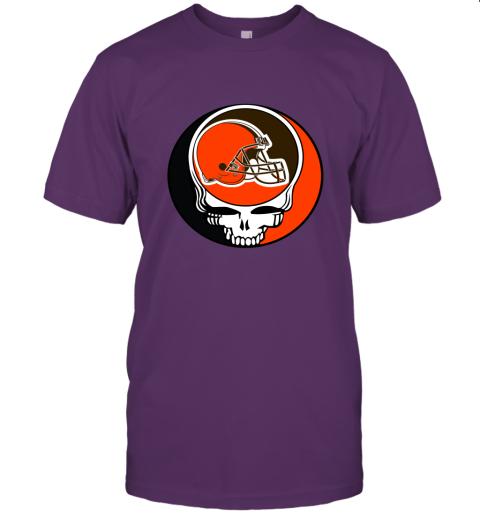 kdsp nfl team cleveland browns x grateful dead logo band jersey t shirt 60 front team purple