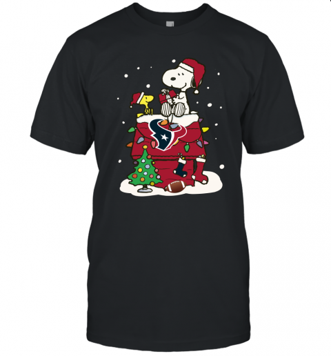 A Happy Christmas With Houston Texans Snoopy Unisex Jersey Tee