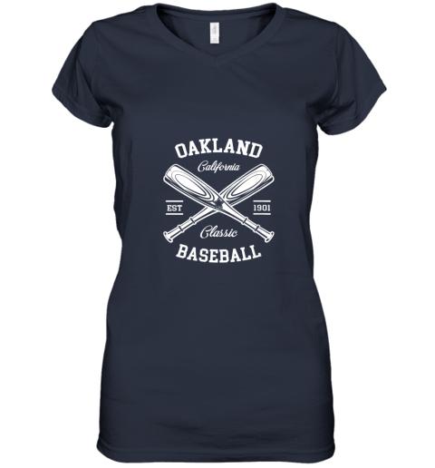 w5i9 oakland baseball classic vintage california retro fans gift women v neck t shirt 39 front navy