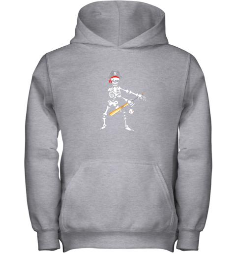 5jxj skeleton pirate floss dance with baseball shirt halloween youth hoodie 43 front sport grey