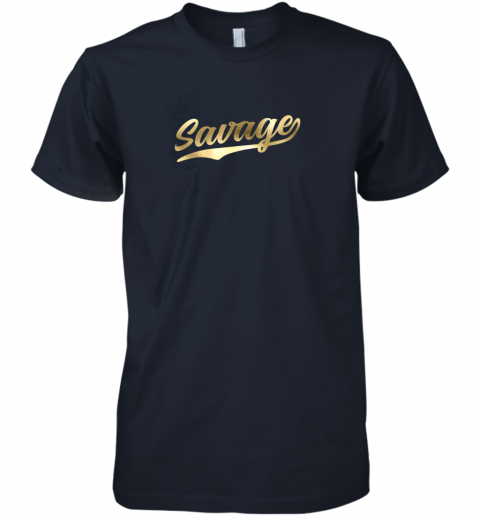 xfmq savage shirt retro 1970s baseball script font premium guys tee 5 front midnight navy