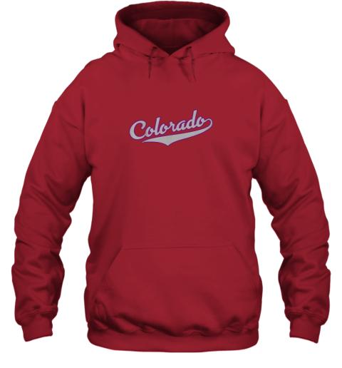 yoar colorado shirtretro baseball script design hoodie 23 front red