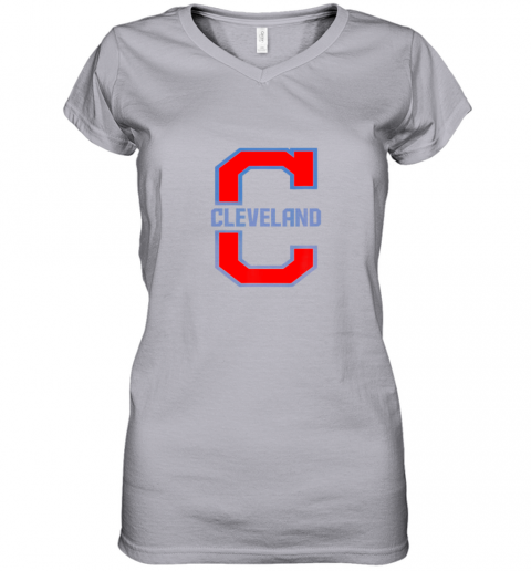 azia cleveland hometown indian tribe vintage women v neck t shirt 39 front sport grey