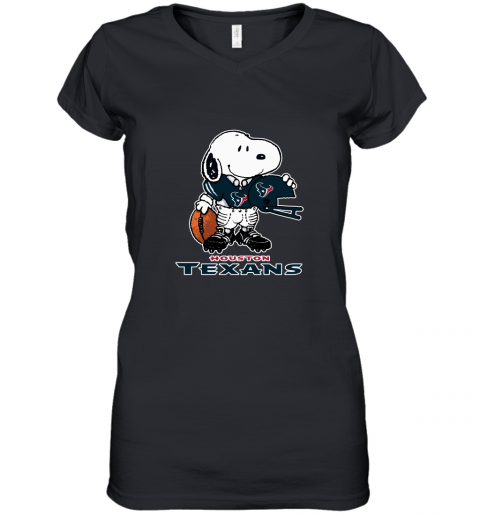 Snoopy A Strong And Proud Houston Texans Player NFL Women's V-Neck T-Shirt