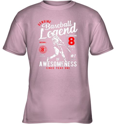rgm8 kids 8th birthday gift baseball legend 8 years youth t shirt 26 front light pink