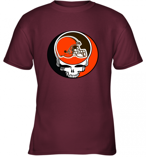 mo2t nfl team cleveland browns x grateful dead logo band youth t shirt 26 front maroon