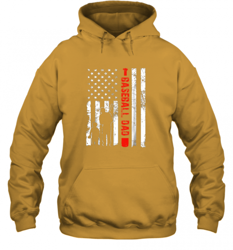 xj2r mens proud baseball dad american flag sports hoodie 23 front gold