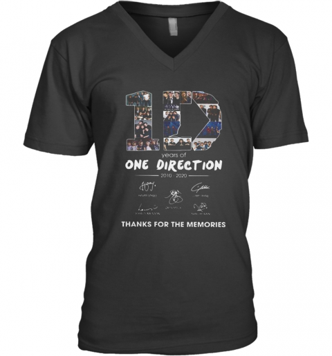 10 Years Of One Direction 2010 2020 Signatures V-Neck T-Shirt