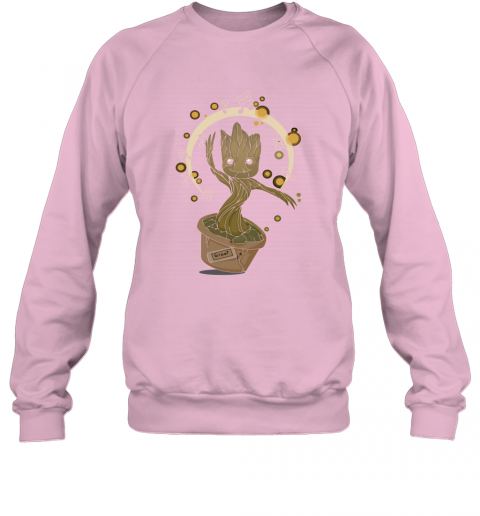 9vip baby groot dancing to music guardians of the galaxy shirts sweatshirt 35 front light pink