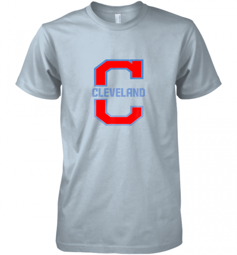 kzt2 cleveland hometown indian tribe vintage premium guys tee 5 front light blue