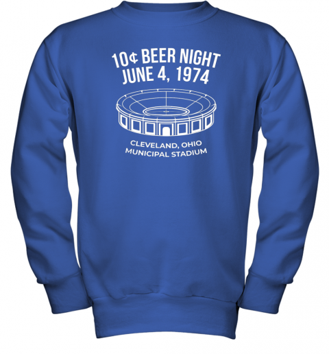 bymm cleveland baseball shirt retro 10 cent beer night youth sweatshirt 47 front royal
