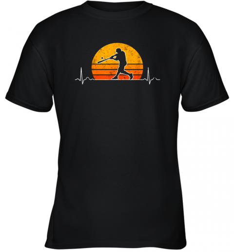 Vintage Baseball Heartbeat Retro Sunset Swinging Batter Gift Youth T-Shirt