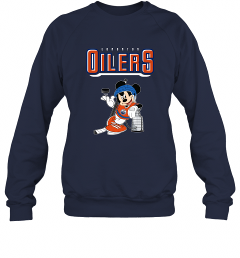 v2qw mickey edmonton oilers with the stanley cup hockey nhl shirt sweatshirt 35 front navy