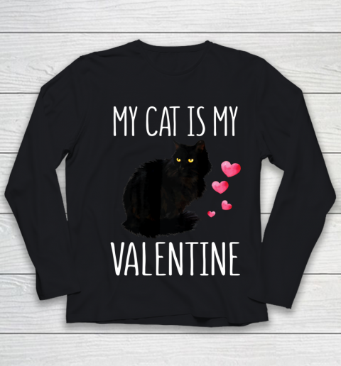 Black Cat Shirt For Valentine s Day My Cat Is My Valentine Youth Long Sleeve