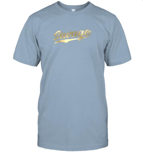 rj8n savage shirt retro 1970s baseball script font jersey t shirt 60 front light blue