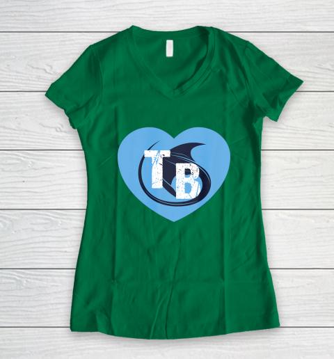 Stingray Love Tampa Bay Vintage TB Cool Tampa Bay Heart Women's V-Neck T-Shirt 5