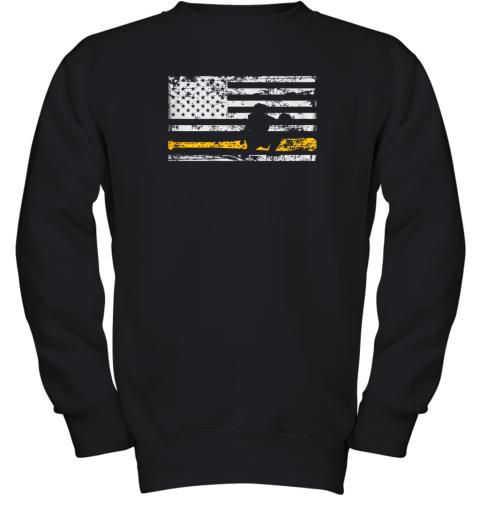 Softball Catcher Shirts Baseball Catcher American Flag Youth Sweatshirt