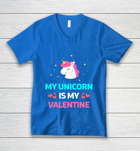 Funny Valentines Day Shirt Unicorn Is My Valentine V-Neck T-Shirt 5
