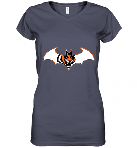 wop9 we are the cincinnati bengals batman nfl mashup women v neck t shirt 39 front heather navy