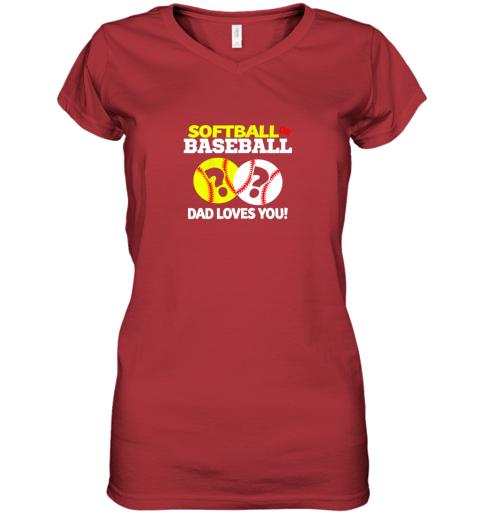 glrv softball or baseball dad loves you gender reveal women v neck t shirt 39 front red