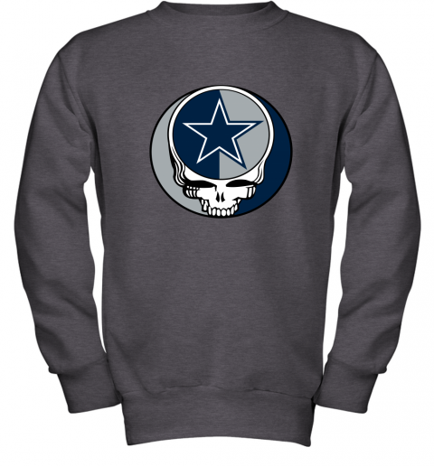 ulnq nfl team dallas cowboys x grateful dead youth sweatshirt 47 front dark heather