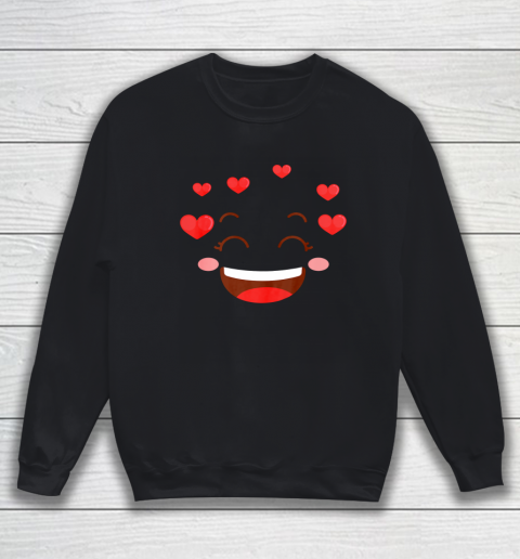 Kids Girls Valentine T Shirt Many Hearts Emoji Design Sweatshirt